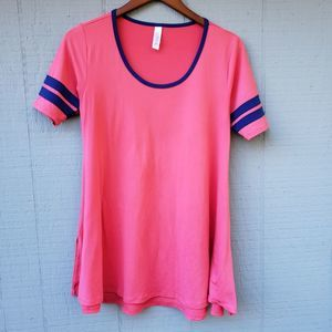 Lularoe Varsity Stripe Perfect Tee Pink Blue XXS